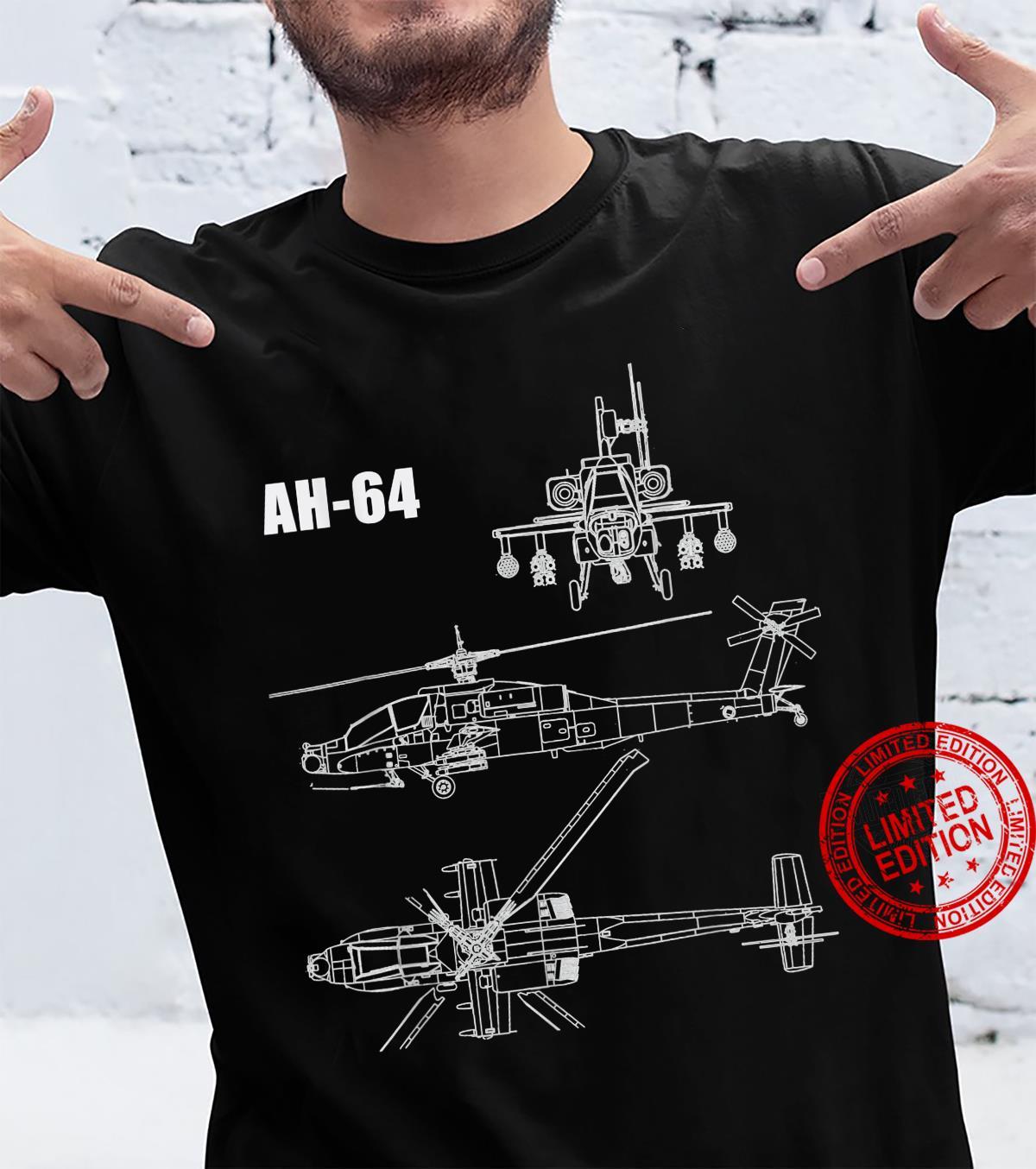 AH-64 Helicopter Blueprint Aircraft Shirt