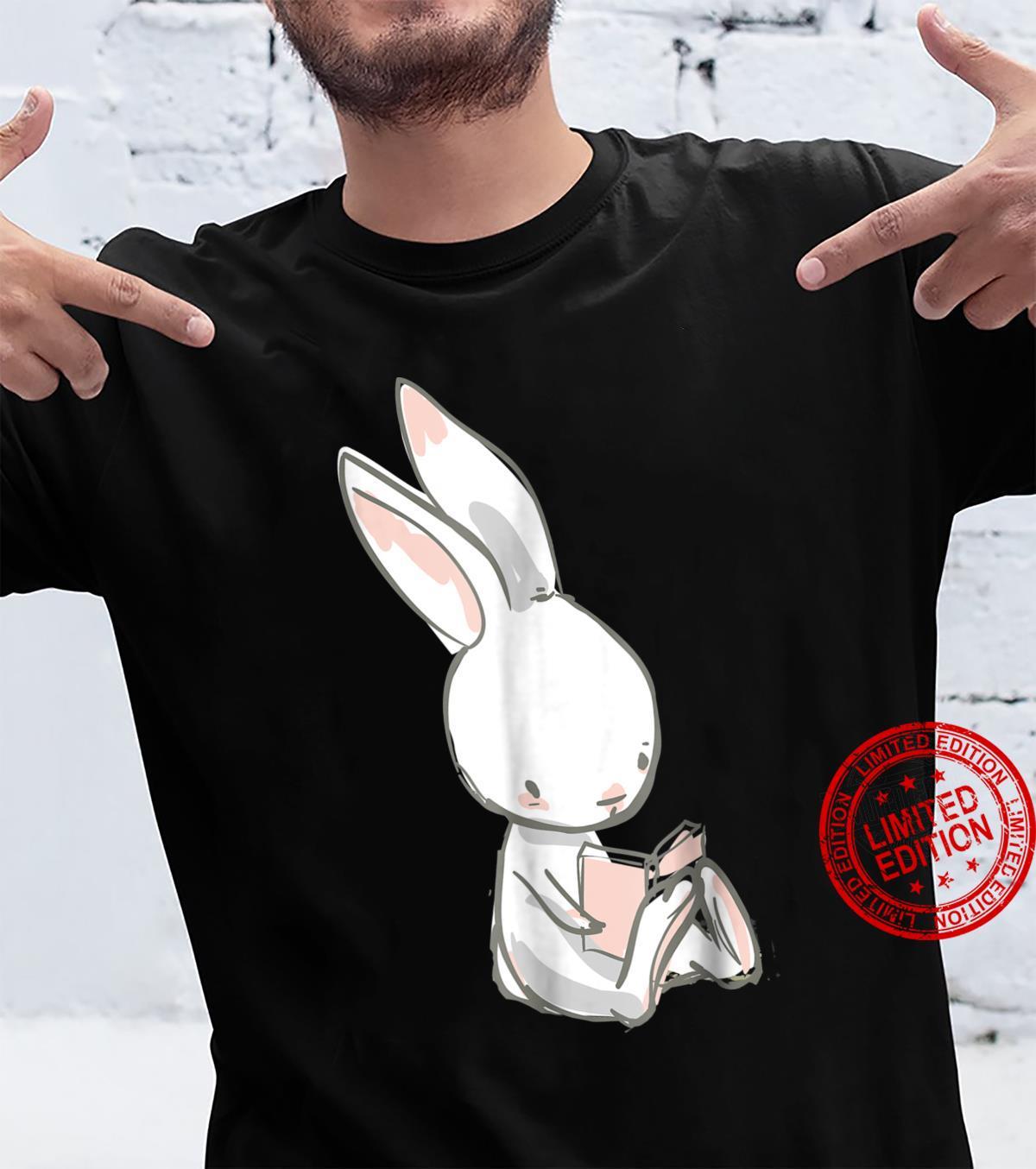 Cute White Bunny Rabbit Book & Reading Shirt