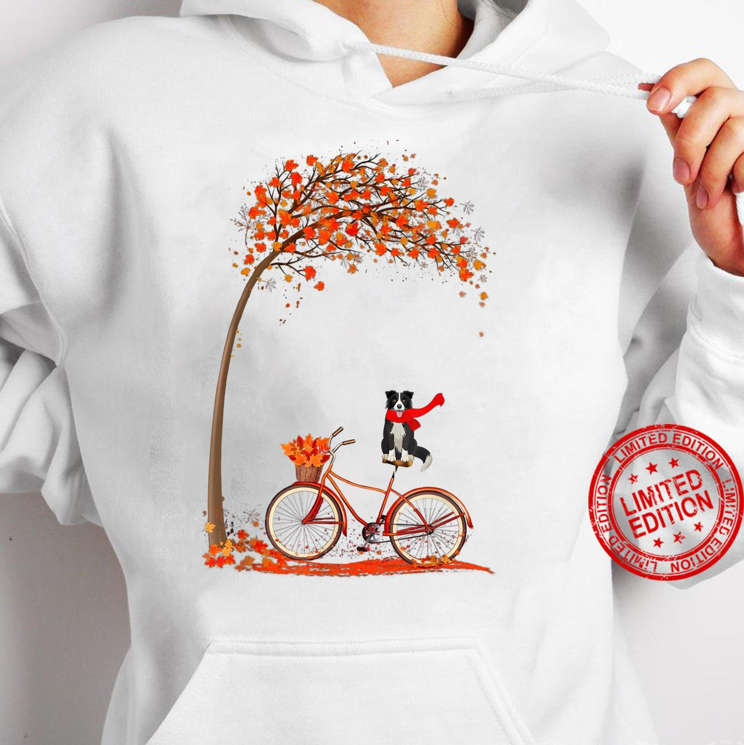 Dog Leaf Fall Autumn Cycling Funny Border Collie Shirt hoodie