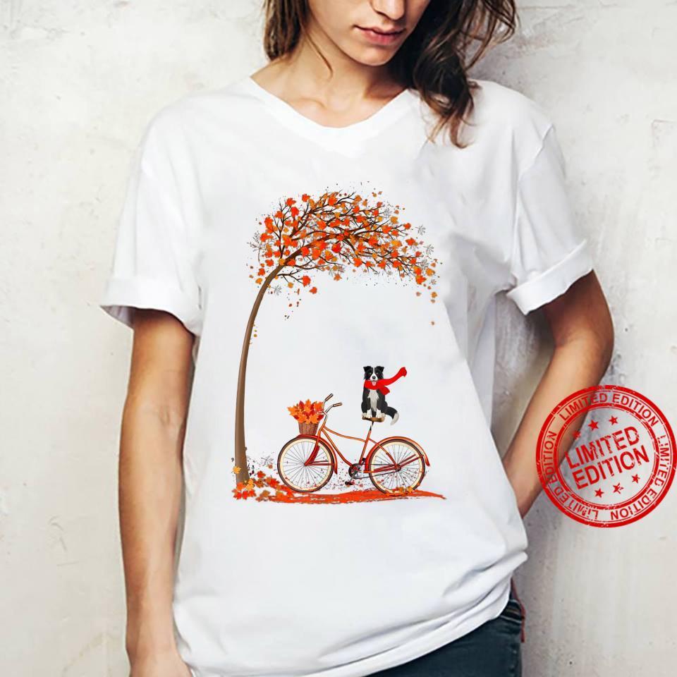 Dog Leaf Fall Autumn Cycling Funny Border Collie Shirt ladies tee