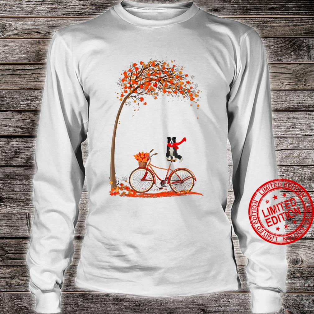 Dog Leaf Fall Autumn Cycling Funny Border Collie Shirt long sleeved