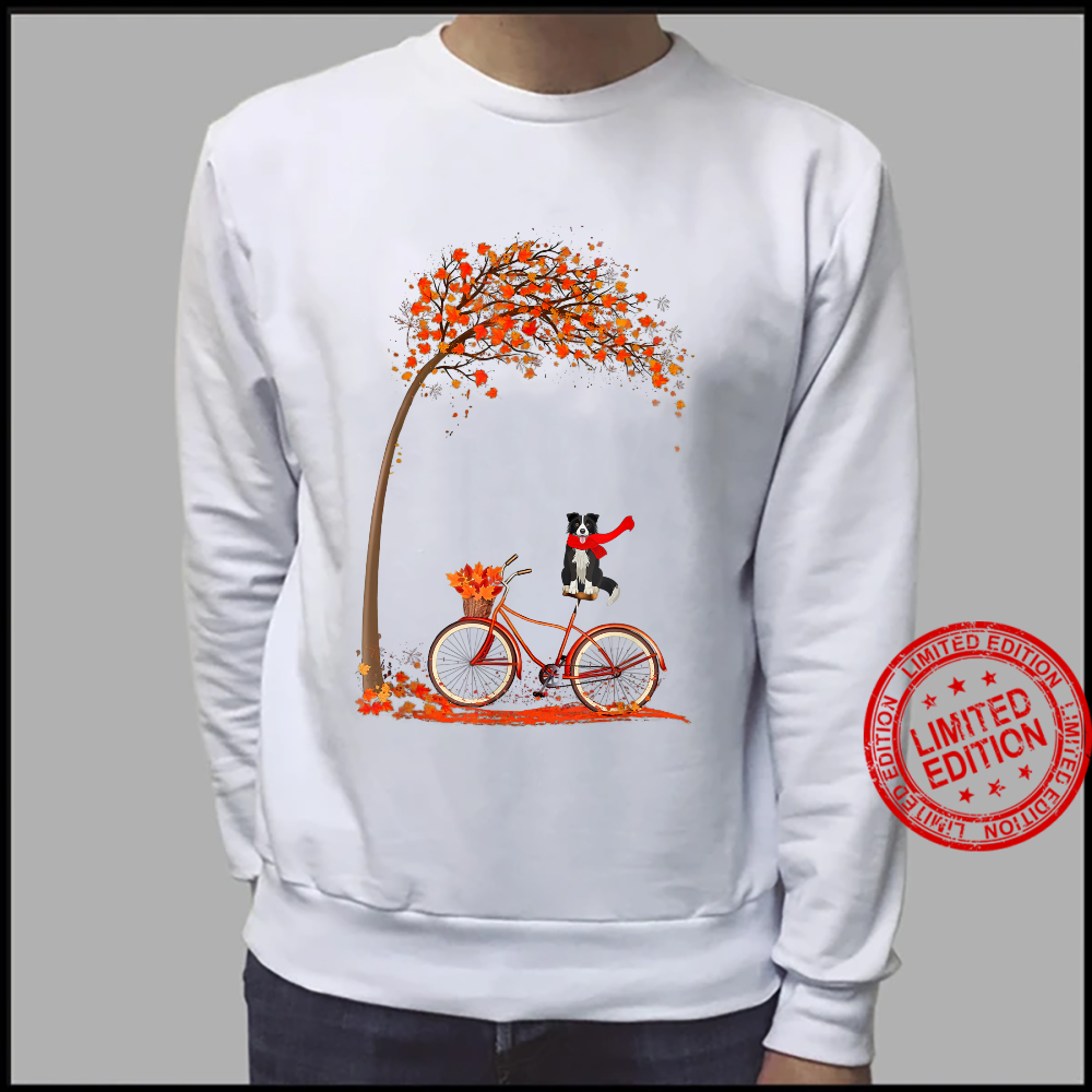 Dog Leaf Fall Autumn Cycling Funny Border Collie Shirt sweater