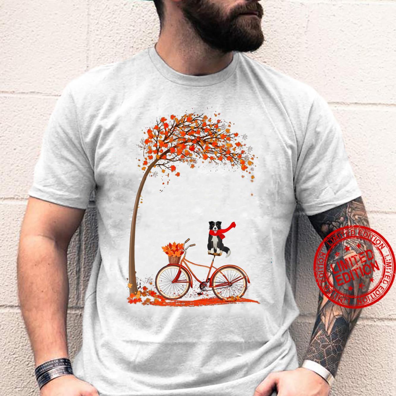 Dog Leaf Fall Autumn Cycling Funny Border Collie Shirt