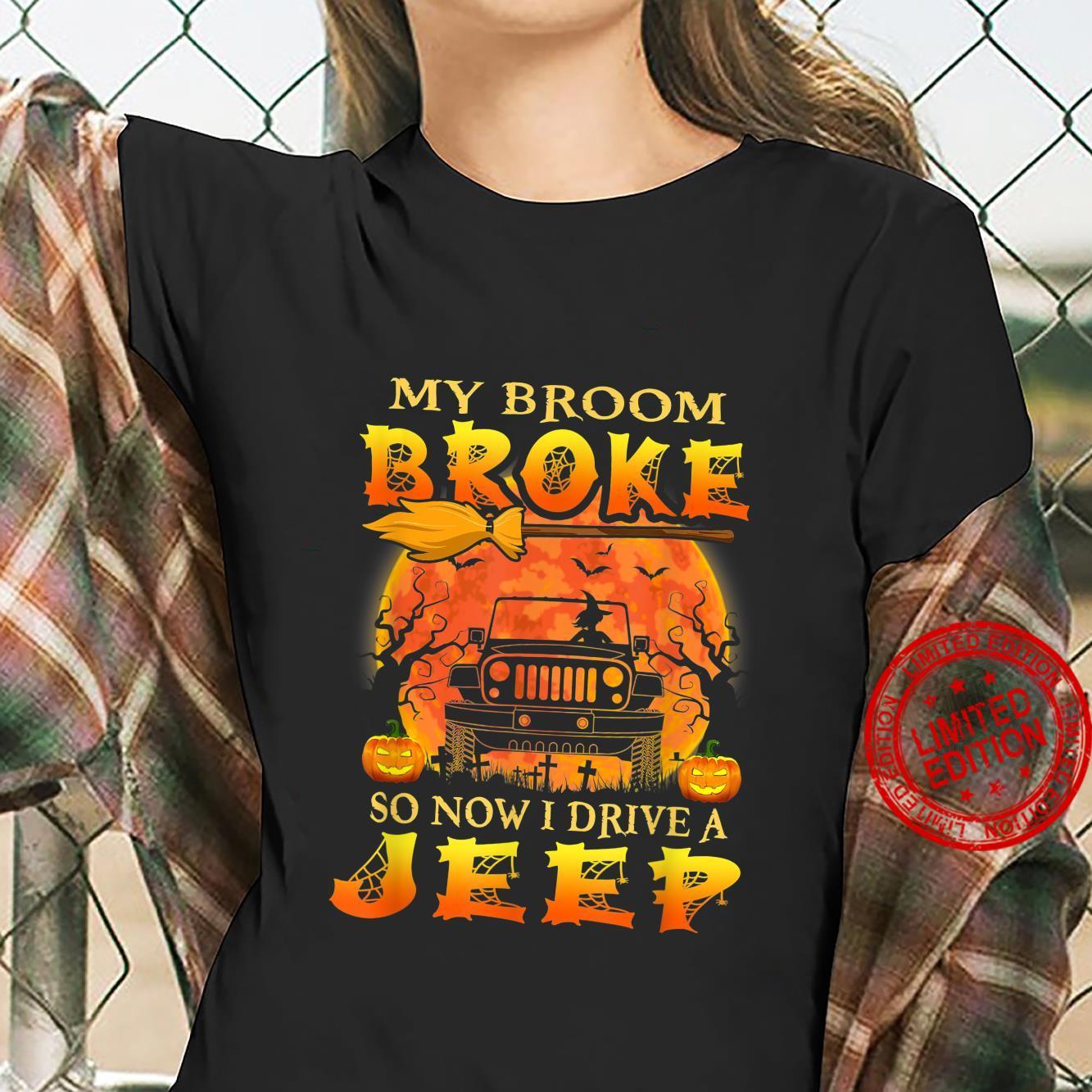 Halloween My Broom Broke So Now I Drive A Jeep Pumpkin Shirt ladies tee
