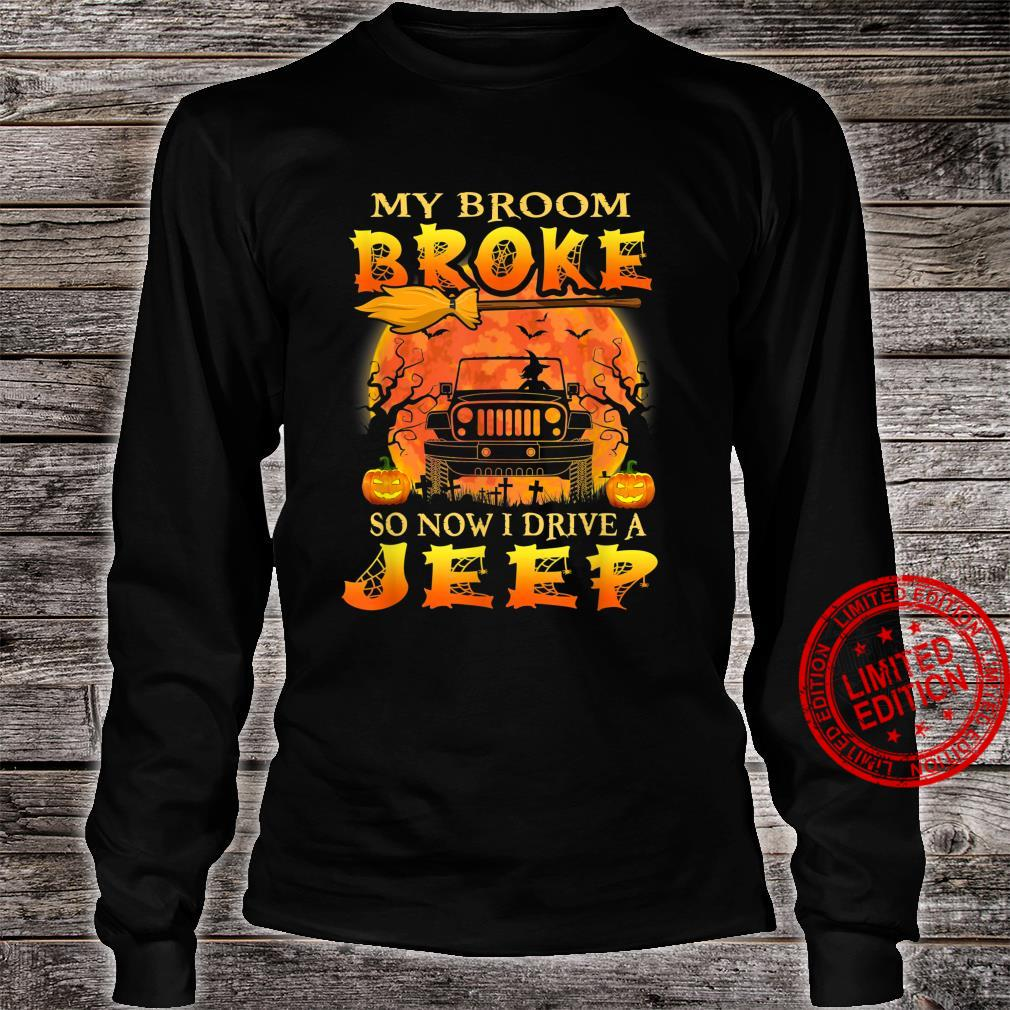 Halloween My Broom Broke So Now I Drive A Jeep Pumpkin Shirt long sleeved