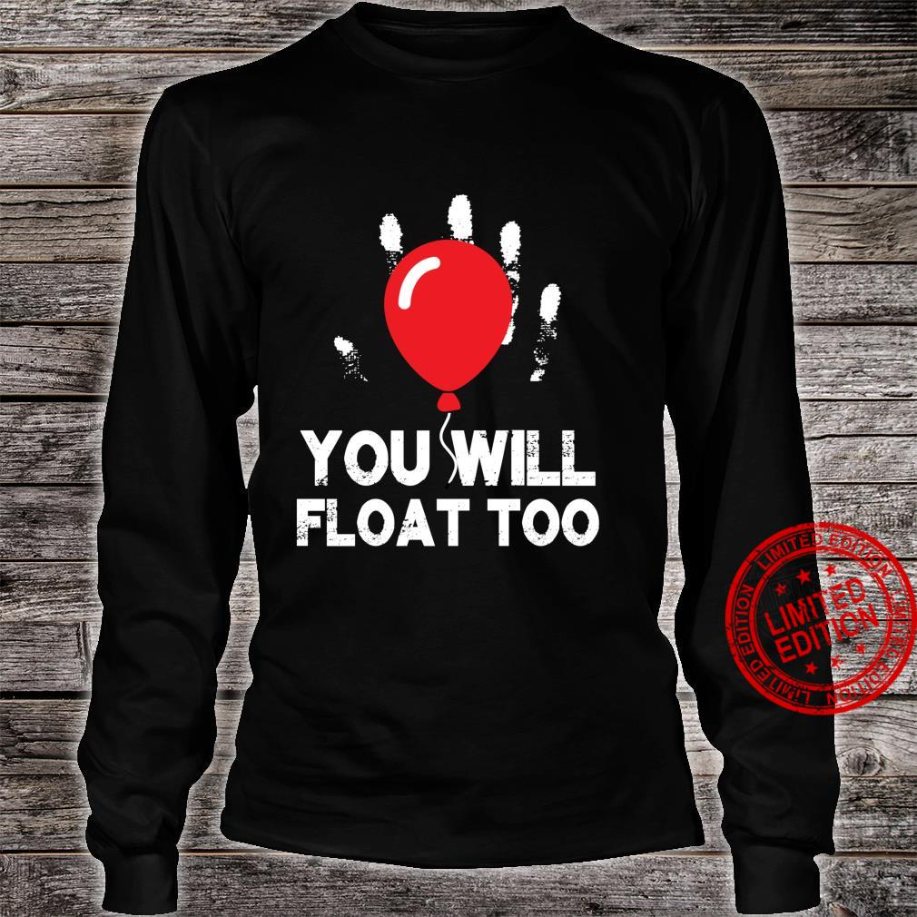 Red Balloon You will Float Too Halloween Horror scary Shirt long sleeved