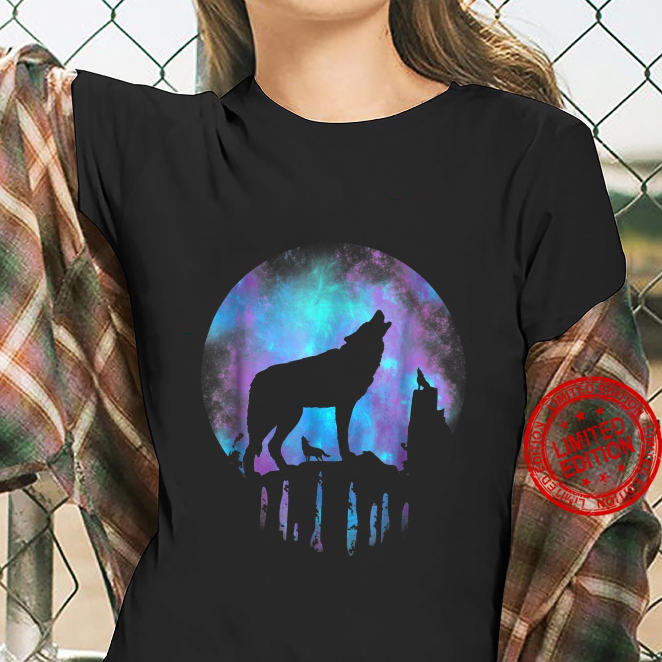 Wolf Galaxy Moon Shirt ladies tee