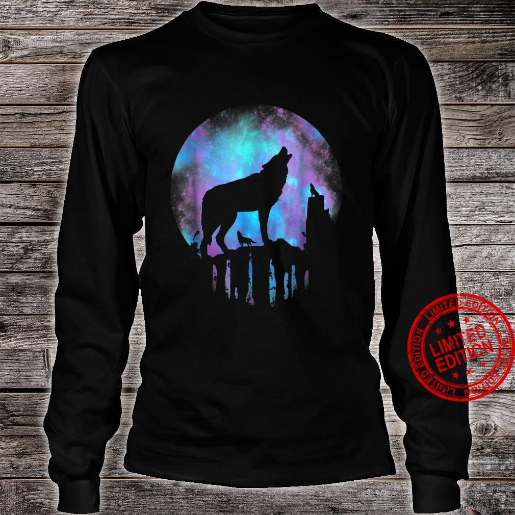 Wolf Galaxy Moon Shirt long sleeved