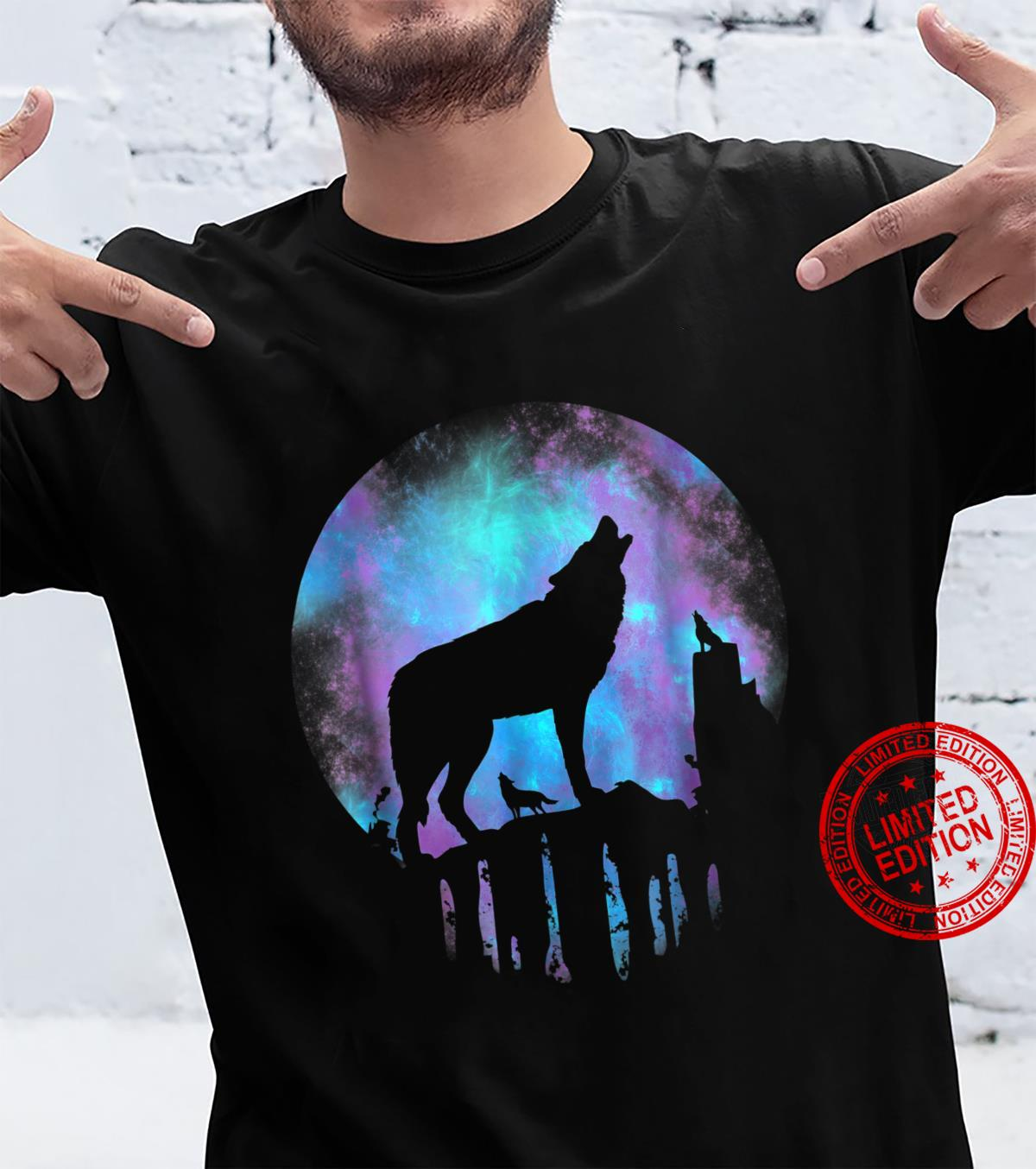 Wolf Galaxy Moon Shirt