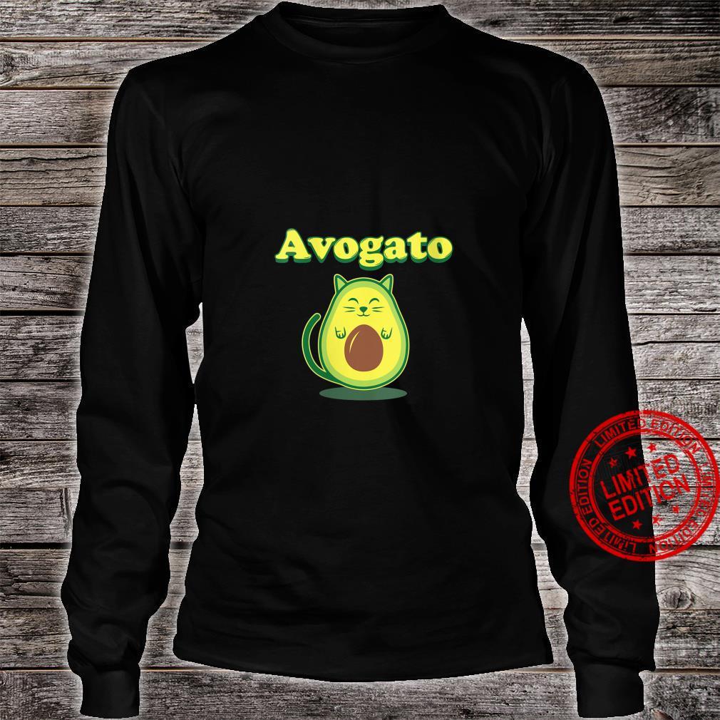 Womens Avocato Cat Avocado Food Shirt long sleeved
