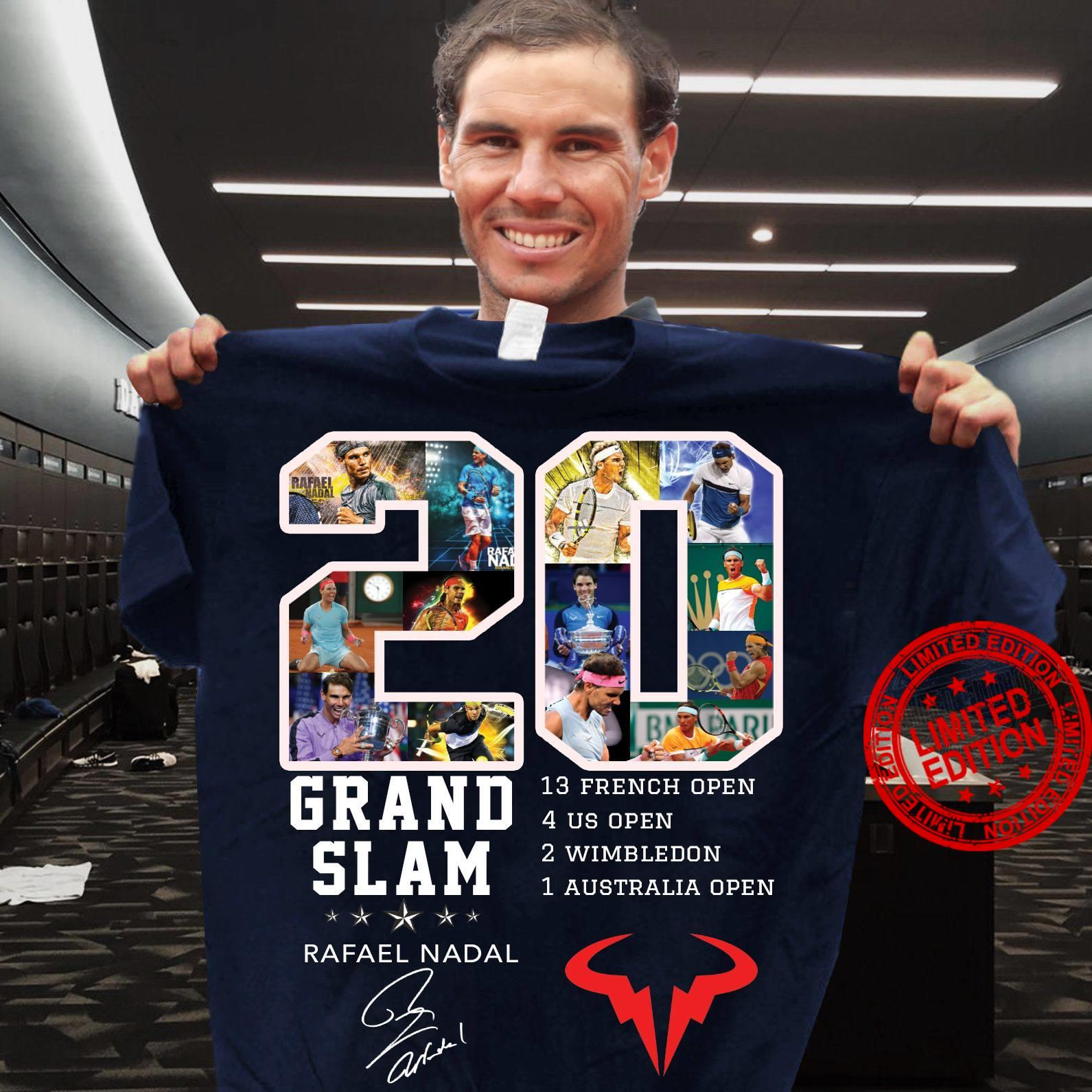 20 Grand Slam 13 French Open 4 Us Open 2 Wimbledon 1 Australia Open Rafael Nadal Shirt