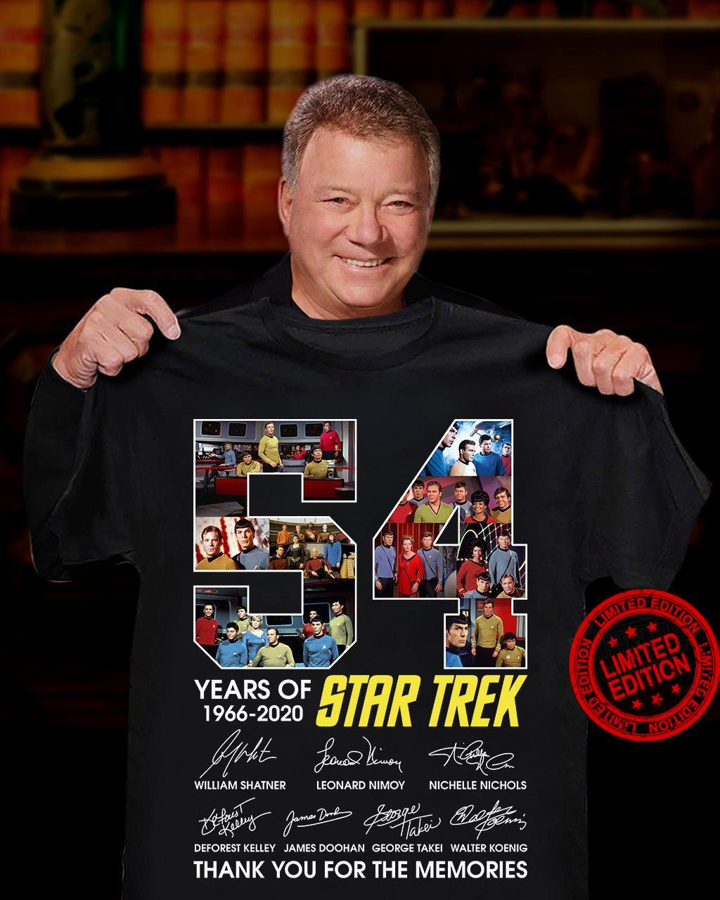 54 Years Of 1966 2020 Star Trek Thank You For The Memories Shirt