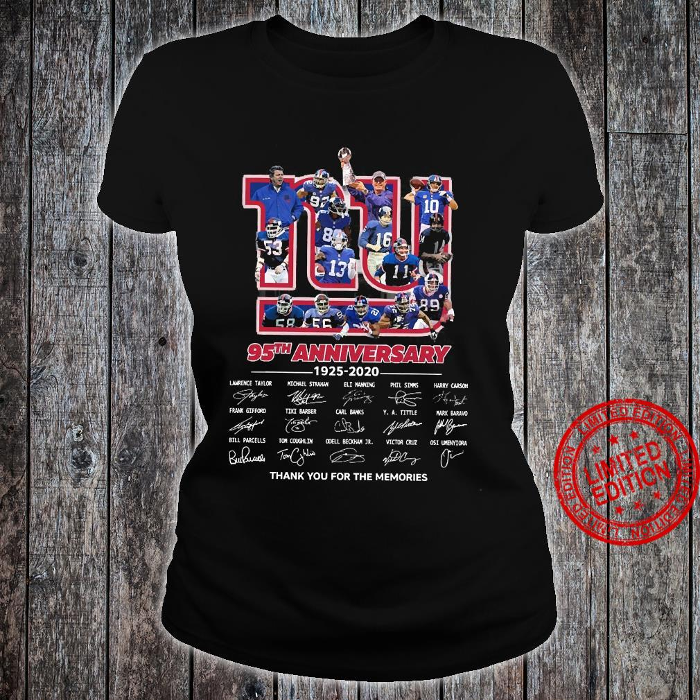 95 Anniversary 1925-2020 Thank You For The Memories Shirt ladies tee