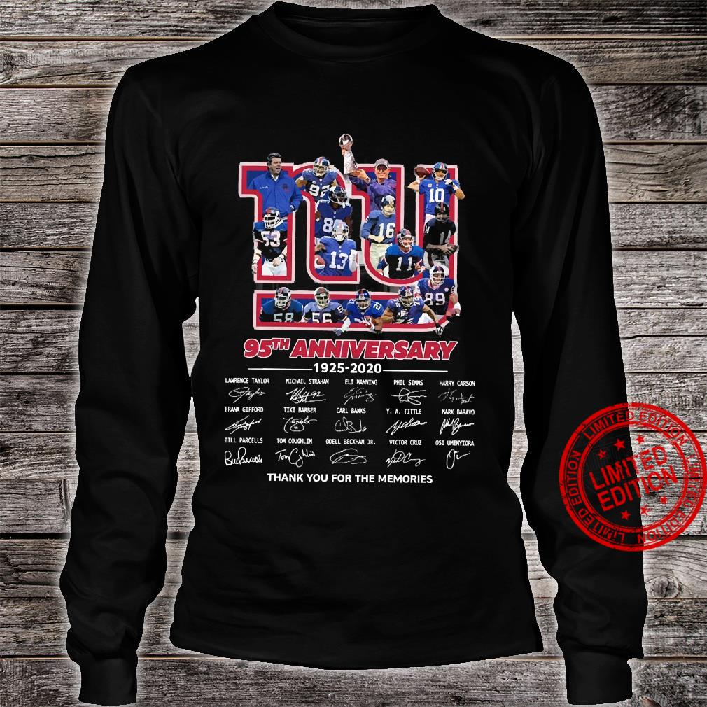 95 Anniversary 1925-2020 Thank You For The Memories Shirt long sleeved